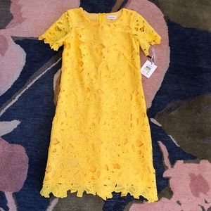 Calvin Klein Floral Sheath Dress Canary Yellow